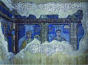 Mosaici dell'atrio di Sant'Aquilino: particolare delle iscrizioni con i nomi degli Apostoli.