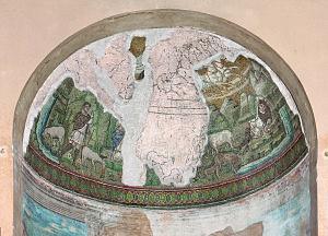 Cappella di Sant'Aquilino. Mosaico del Cristo-Sole conservato nella lunetta orientale.