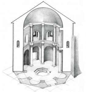 Assonometria del battistero di San Giovanni alle fonti
