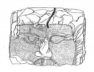 Rilievo di un blocco di pietra raffigurante il volto di Giove Ammone, rinvenuto nei pressi del foro.