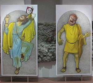 Particolari dell'allestimento del Museo sensibile del Teatro romano di Milano.