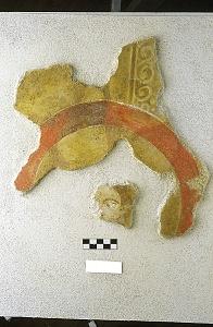 Lacerto di affresco del triclinio della domus di via Cesare Correnti.