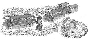 Disegno ricostruttivo del complesso episcopale, con un dettaglio del battistero di San Giovanni alle fonti.