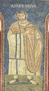 Sacello di San Vittore in Ciel d'Oro: particolare della rappresentazione del vescovo Ambrogio.