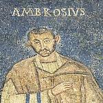 Il vescovo Ambrogio nel mosaico del sacello di San Vittore in Ciel d'Oro.