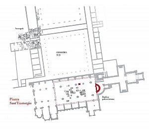 Pianta del complesso di Sant'Eustorgio: in rosso le fasi più antiche.