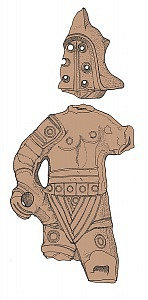 "Statuetta fittile di gladiatore rinvenuta in via Lamarmora ed esposta nell'Antiquarium ""Alda Levi""."