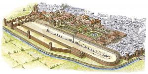 Disegno ricostruttivo del circo e del palazzo imperiale di Mediolanum.
