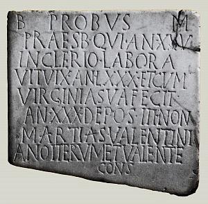 L'epigrafe funeraria di Probo.