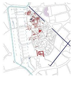 Planimetria generale del palazzo imperiale. In rosso le strutture documentate.