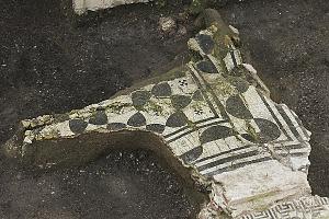 Particolare del mosaico ad esagoni della sala Q messo in luce durante gli scavi di via Gorani 2-4.