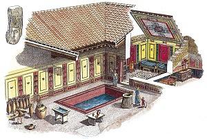 Disegno ricostruttivo della domus di via Cesare Correnti.